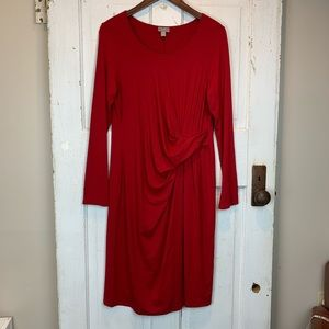 JJill wrap look, long sleeve red midi dress size M